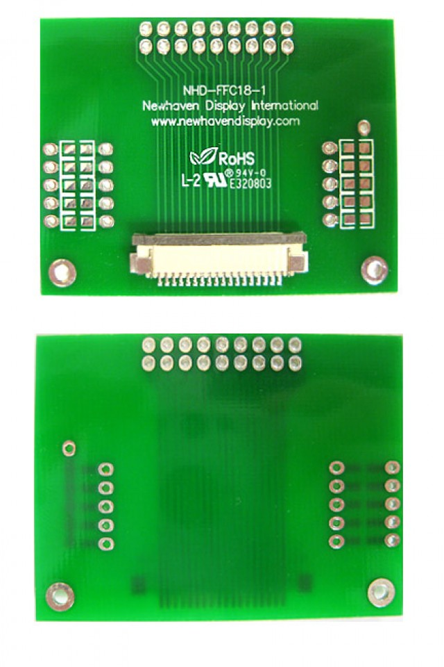 Newhaven NHD-FFC18-1 Newhaven   18 pin 1mm pitch FFC to thru hole adapter @  and  Interface with  Connector and  Controller. PN - NHD-FFC18-1 (Product Image)