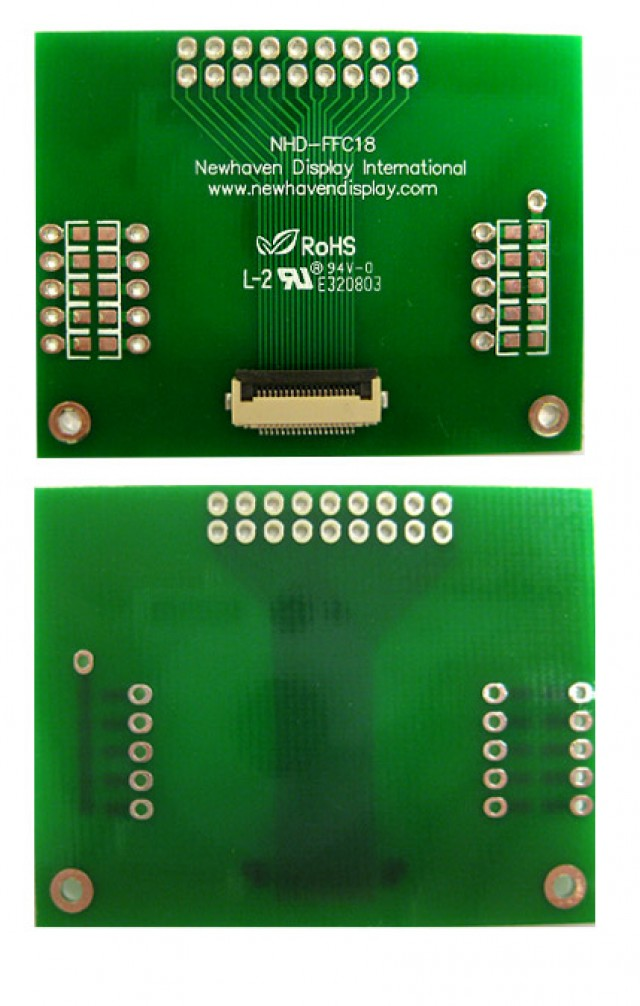 Newhaven Display NHD-FFC18 Newhaven   18 pin FFC to thru hole adapter @  and  Interface with  Connector and  Controller. PN - NHD-FFC18 (Product Image)