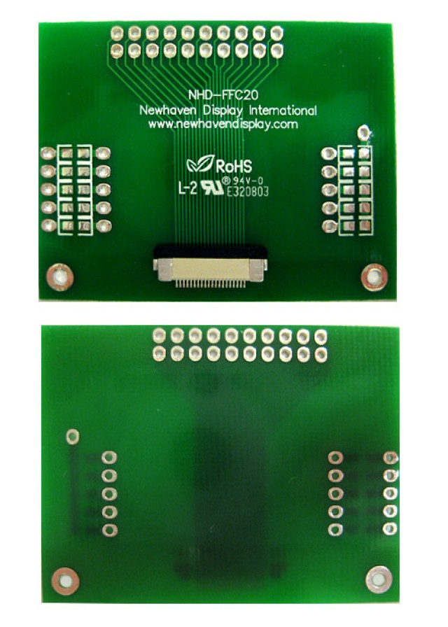 Newhaven NHD-FFC20 Newhaven   20 pin FFC to thru hole adapter @  and  Interface with  Connector and  Controller. PN - NHD-FFC20 (Product Image)