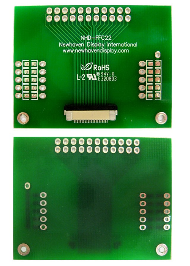 Newhaven NHD-FFC22 Newhaven   22 pin FFC to thru hole adapter @  and  Interface with  Connector and  Controller. PN - NHD-FFC22 (Product Image)