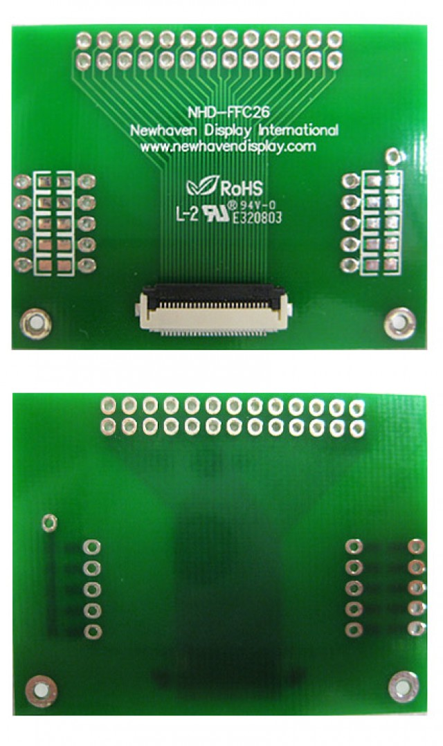 Newhaven Display NHD-FFC26 Newhaven   26 pin FFC to thru hole adapter @  and  Interface with  Connector and  Controller. PN - NHD-FFC26 (Product Image)