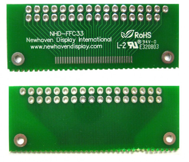 Newhaven NHD-FFC33 Newhaven   33 pin FFC to thru hole adapter @  and  Interface with  Connector and  Controller. PN - NHD-FFC33 (Product Image)