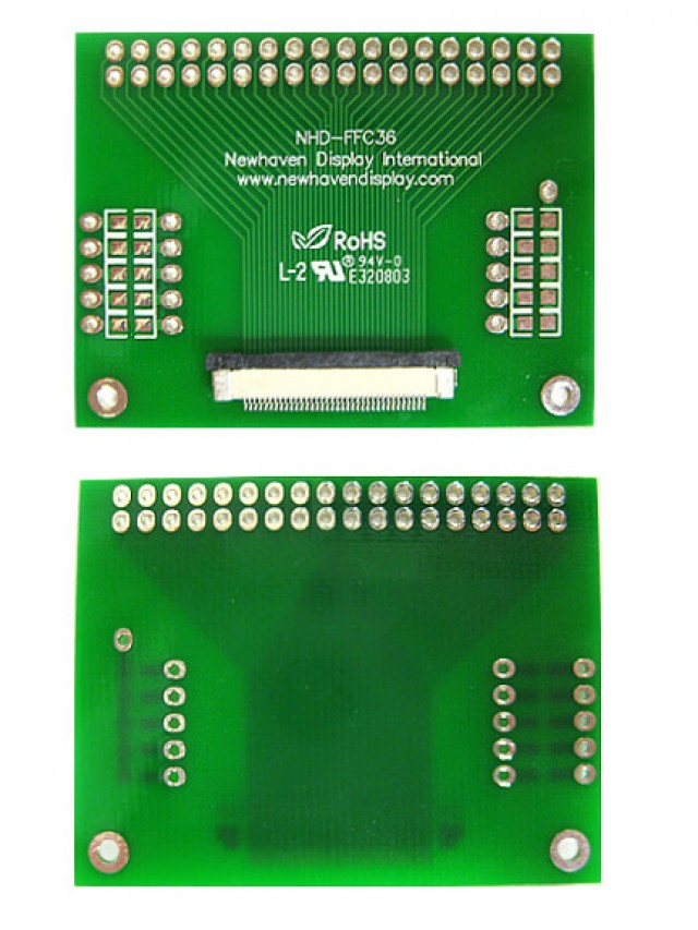 Newhaven NHD-FFC36 Newhaven   36 pin FFC to thru hole adapter @  and  Interface with  Connector and  Controller. PN - NHD-FFC36 (Product Image)