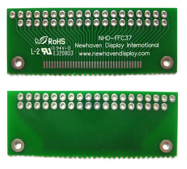 Newhaven Display NHD-FFC37 Newhaven   37 pin FFC to thru hole adapter @  and  Interface with  Connector and  Controller. PN - NHD-FFC37 (Product Image)