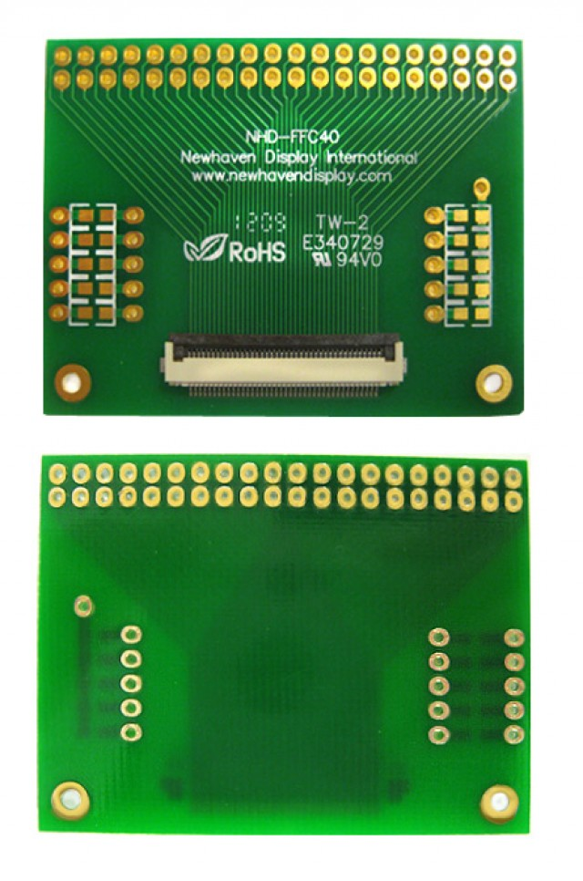 Newhaven Display NHD-FFC40 Newhaven   40 pin FFC to thru hole adapter @  and  Interface with  Connector and  Controller. PN - NHD-FFC40 (Product Image)