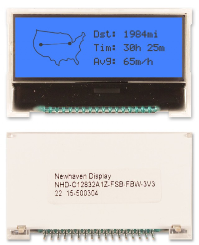 Newhaven NHD-C12832A1Z-FSB-FBW-3V3 Newhaven 128 x 32 Pixels Transflective Chip on Glass- Graphic @ 3V and 4-Bit / SPI Interface with 17-Pin Connector and ST-7032 Controller. PN - NHD-C12832A1Z-FSB-FBW-3V3 (Product Image)