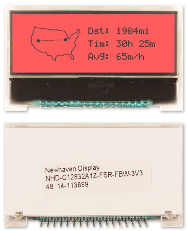 Newhaven NHD-C12832A1Z-FSR-FBW-3V3 Newhaven 128 x 32 Pixels Transflective Chip on Glass- Graphic @ 3V and 4-Bit / SPI Interface with 17-Pin Connector and ST-7032 Controller. PN - NHD-C12832A1Z-FSR-FBW-3V3 (Product Image)