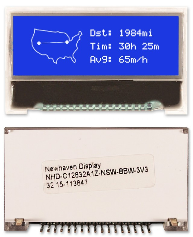 Newhaven NHD-C12832A1Z-NSW-BBW-3V3 Newhaven 128 x 32 Pixels Transmissive Chip on Glass- Graphic Using 4-Bit / SPI Interface and 17-Pin Connector. (Product Image)