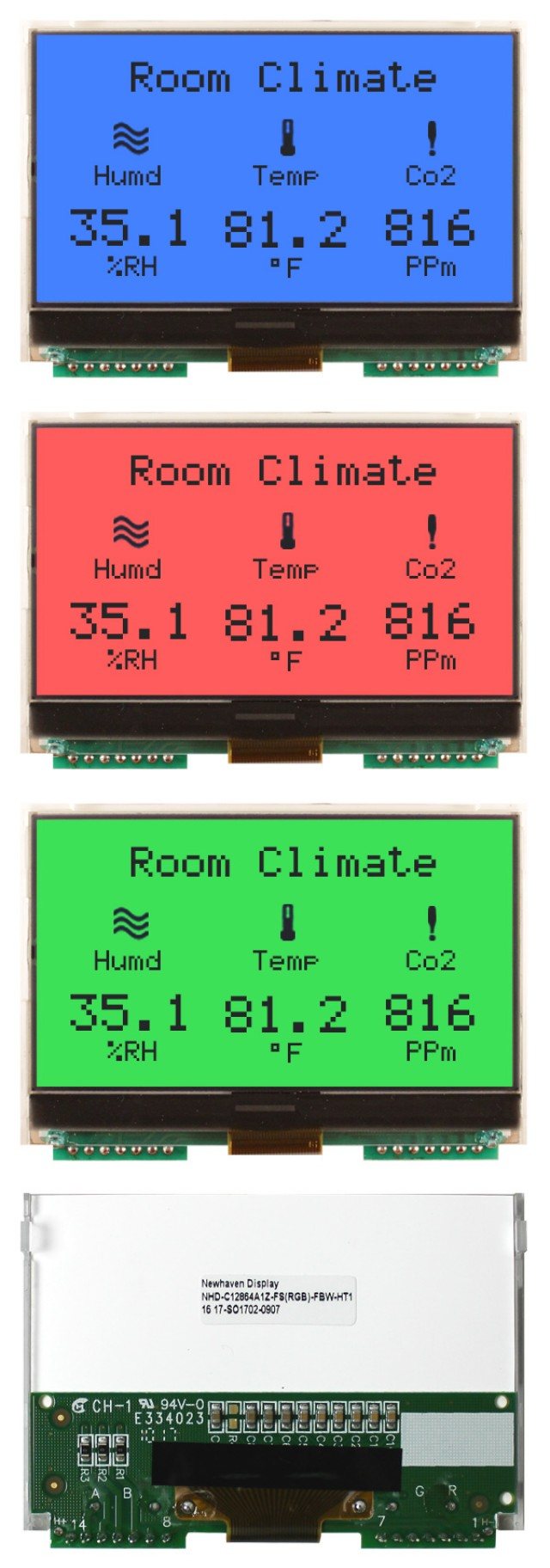 Newhaven NHD-C12864A1Z-FS(RGB)-FBW-HT1 Newhaven 128 x 64 Pixels Transflective Chip on Glass- Graphic + Heater Using SPI Interface and 12-Pin / PCB Connector. (Product Image)