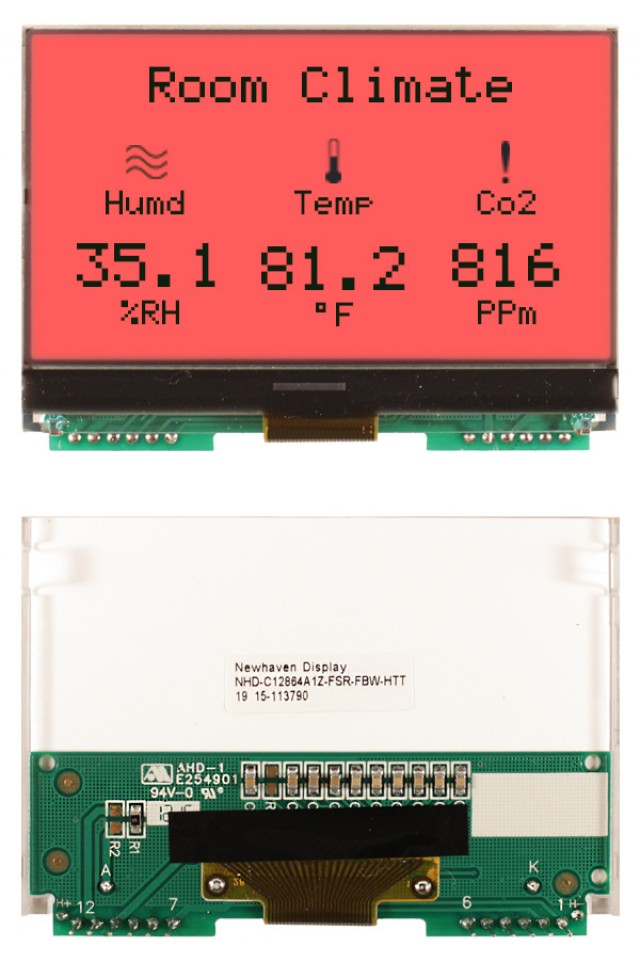 Newhaven NHD-C12864A1Z-FSR-FBW-HTT Newhaven 128 x 64 Pixels Transflective Chip on Glass- Graphic + Heater Using SPI Interface and 12-Pin / PCB Connector. (Product Image)