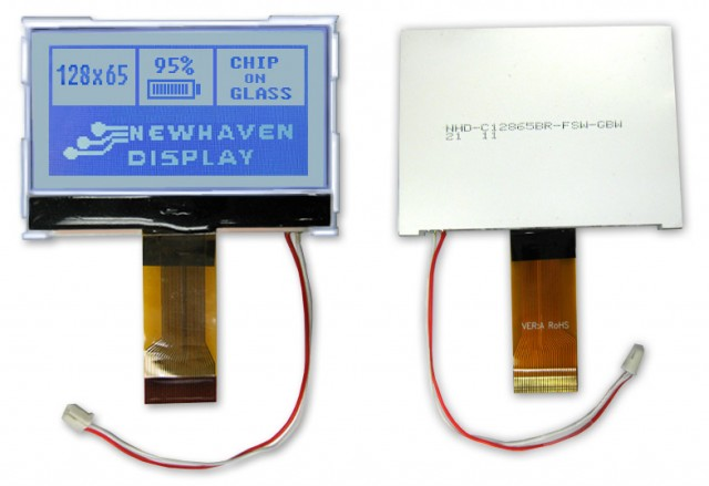 Newhaven Display NHD-C12865BR-FSW-GBW Newhaven 128 x 65 Pixels Transflective Chip on Glass- Graphic @ 3.3V and Serial/Parallel Interface with 30-Pin FPC Connector and ST7565R Controller. PN - NHD-C12865BR-FSW-GBW (Product Image)