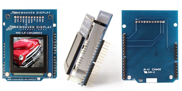 Newhaven NHD-1.5-AU-Shield Newhaven 128x128 262K Serial Color OLED Arduino Shield @ 3.3-5V and SPI MPU Interface with 1x11 2.54mm pitch header Connector and SSD1351 Controller. PN - NHD-1.5-AU-SHIELD (Product Image)