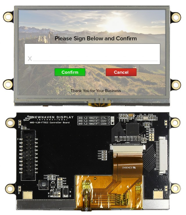 Newhaven NHD-4.3-480272FT-CSXN-T Newhaven 480x272 Transmissive 4.3(Inch) EVE2 TFT SunL  Module Res Touch @ 3.3 and SPI Interface Interface with (CN1): Male IDC Box Header; 20-pin; 2x10; 2.54mm pitch (CN2): Top-contact FFC Connector; 20-pin; 1.00mm pitch Connector and FT812 Controller. PN - NHD-4.3-480272FT-CSXN-T (Product Image)
