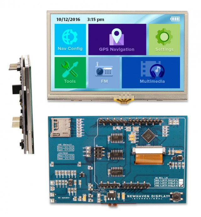 """Newhaven NHD-4.3RTP-SHIELD-N Newhaven 480 x RGB x 272 262K 4.3"""" Color TFT Resistive Touch Sunlight Readable Module + Arduino Shield Using SPI Interface and Arduino Shield Connector. (Product Image)"""