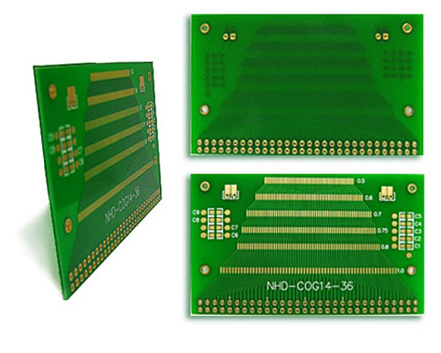 Newhaven NHD-COG14-36 Newhaven   Various pitch SMT adapter to 2.54mm thru-holes Using  Interface and  Connector. (Product Image)