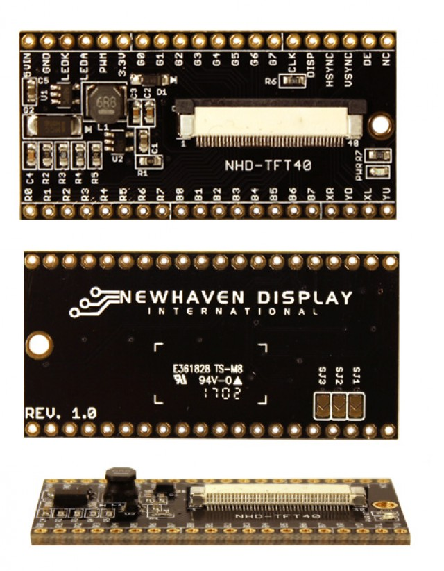 Newhaven NHD-TFT40 Newhaven   TFT Breakout Board @ 5.0 V and  Interface with 40-pin Connector and None Controller. PN - NHD-TFT40 (Product Image)