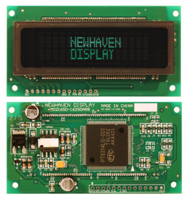 Newhaven M0216SD-162SDAR8 Newhaven 2 x 16 character (Dot Matrix)  VFD Character Module Using Serial / Parallel Interface and 1 x 14 Bottom Connector. (Product Image)