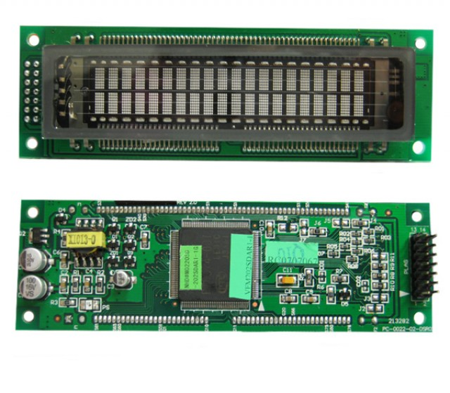 Newhaven Display M0220SD-202SDAR1-1G Newhaven 2 x 20 character (Dot Matrix)  VFD Character Module- ESD Protected @ 5v and Serial / Parallel Interface with 2 x 7 Left Connector and PT6314 Controller. PN - M0220SD-202SDAR1-1G (Product Image)