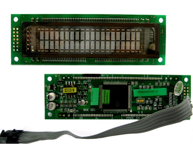 Newhaven M0220SD-202SDAR1-S Newhaven 2 x 20 character (Dot Matrix)  VFD Character Module @ 5v and Serial + Cable Interface with 2 x 7 Left Connector and PT6314 Controller. PN - M0220SD-202SDAR1-S (Product Image)