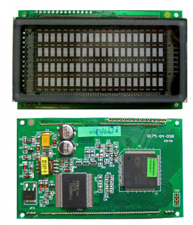 Newhaven Display M0420SD-204SDAR1-3 Newhaven 4 x 20 character (Dot Matrix)  VFD Character Module @ 5v and Serial / Parallel Interface with 1 x 14 Top Connector and PT6314 Controller. PN - M0420SD-204SDAR1-3 (Product Image)