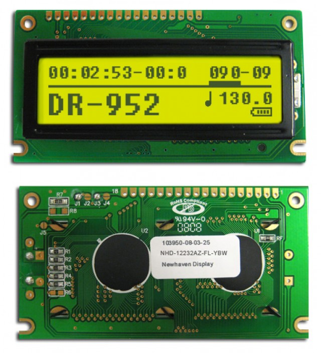 Newhaven NHD-12232AZ-FL-YBW Newhaven 122 x 32 Pixels Transflective  LCD Graphic Display @ 5V and 8-Bit Parallel Interface with 1x16 Top Connector and SBN1661G_M02 Controller. PN - NHD-12232AZ-FL-YBW (Product Image)