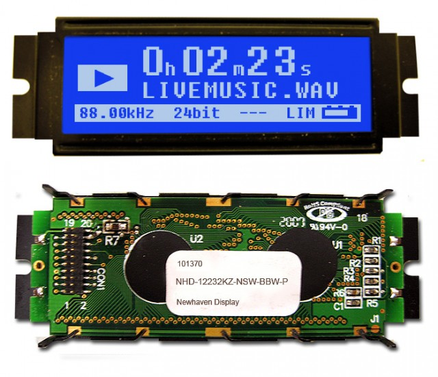 Newhaven NHD-12232KZ-NSW-BBW-P Newhaven 122 x 32 Pixels Transmissive  LCD Graphic Display Using 8-Bit Parallel Interface and 2x10 Back w/ pins Connector. (Product Image)
