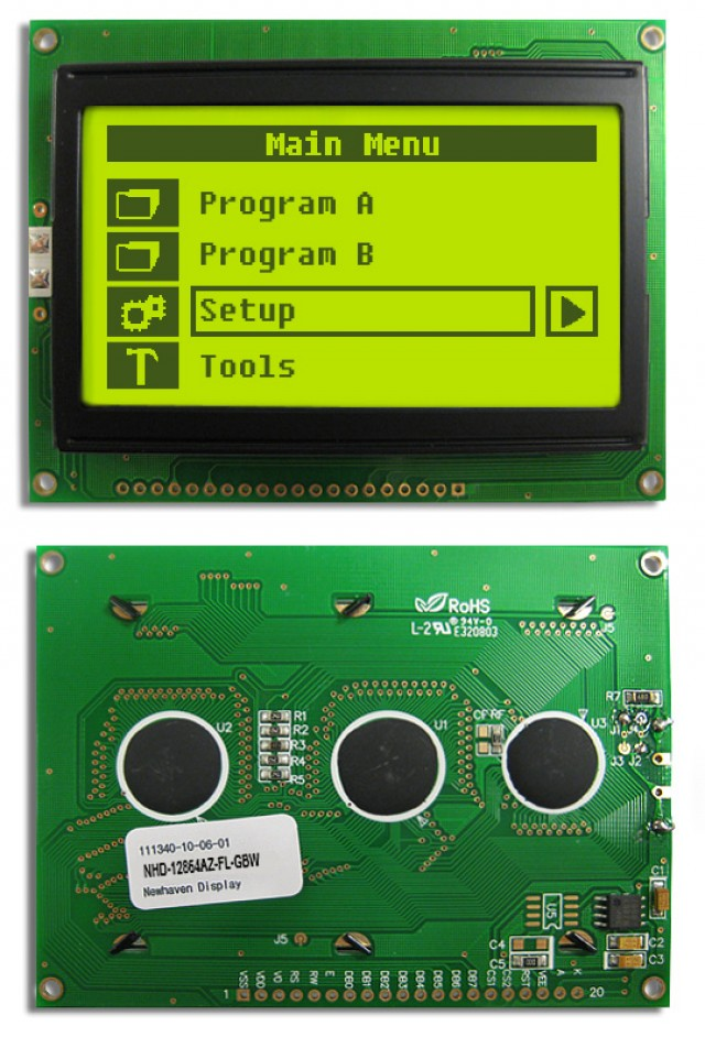 Newhaven Display NHD-12864AZ-FL-GBW Newhaven 128 x 64 Pixels Transflective  LCD Graphic Display @ 5V and 8-Bit Parallel Interface with 1x20 Bottom Connector and KS0108 Controller. PN - NHD-12864AZ-FL-GBW (Product Image)