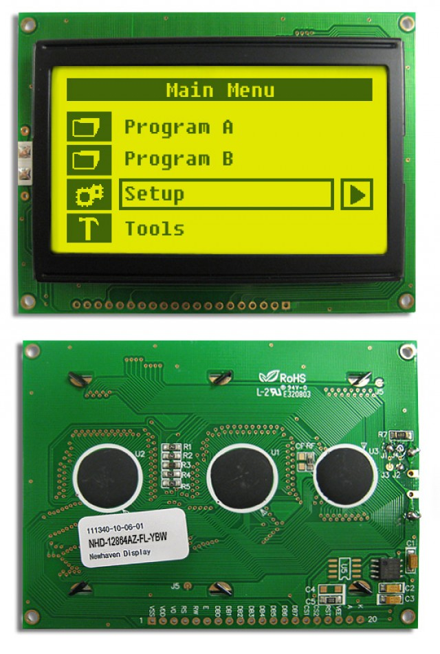 Newhaven NHD-12864AZ-FL-YBW Newhaven 128 x 64 Pixels Transflective  LCD Graphic Display Using 8-Bit Parallel Interface and 1x20 Bottom Connector. (Product Image)