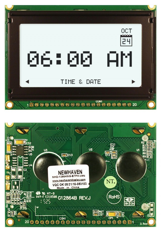 Newhaven NHD-12864WG-BTFH-V#N Newhaven 128 x 64 Pixels Transflective  LCD Graphic Display @ 5V and 8-Bit Parallel Interface with 1x20 Bottom Connector and KS0108 Controller. PN - NHD-12864WG-BTFH-V#N (Product Image)