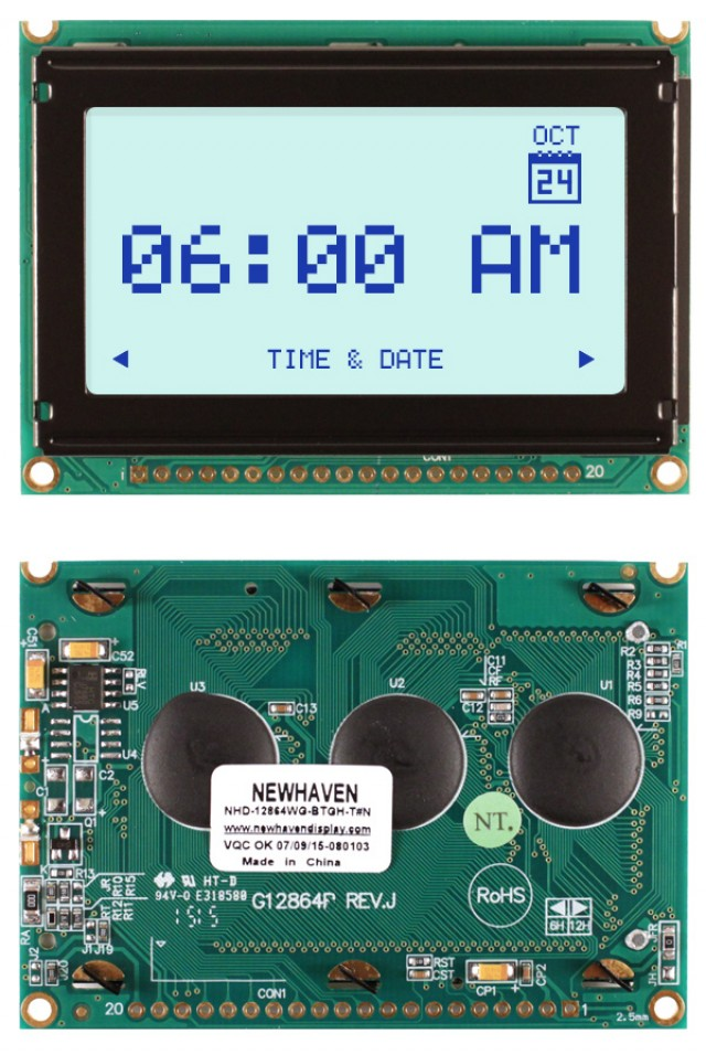 Newhaven NHD-12864WG-BTGH-T#N Newhaven 128 x 64 Pixels Transflective  LCD Graphic Display + Temp Comp @ 5V and 8-Bit Parallel Interface with 1x20 Bottom Connector and KS0108 Controller. PN - NHD-12864WG-BTGH-T#N (Product Image)