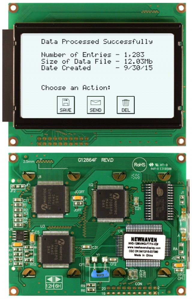 Newhaven Display NHD-12864WG-FTFH-VZ# Newhaven 128 x 64 Pixels Transflective  LCD Graphic Display @ 5V and 8-Bit Parallel Interface with 2x10 Bottom Connector and T6963C Controller. PN - NHD-12864WG-FTFH-VZ# (Product Image)