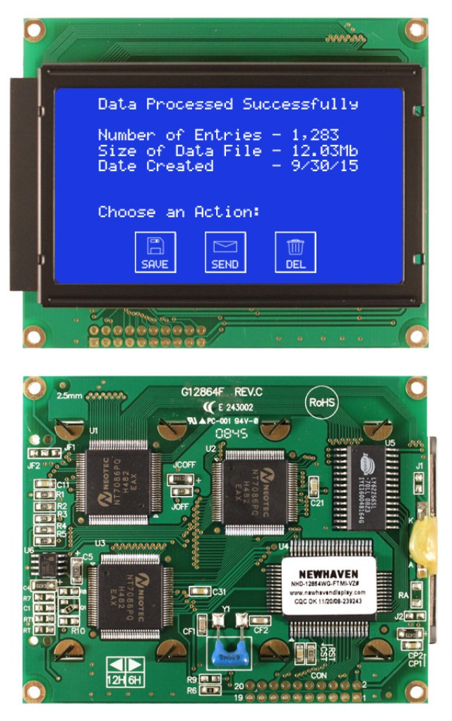 Newhaven NHD-12864WG-FTMI-VZ# Newhaven 128 x 64 Pixels Transmissive  LCD Graphic Display Using 8-Bit Parallel Interface and 2x10 Bottom Connector. (Product Image)