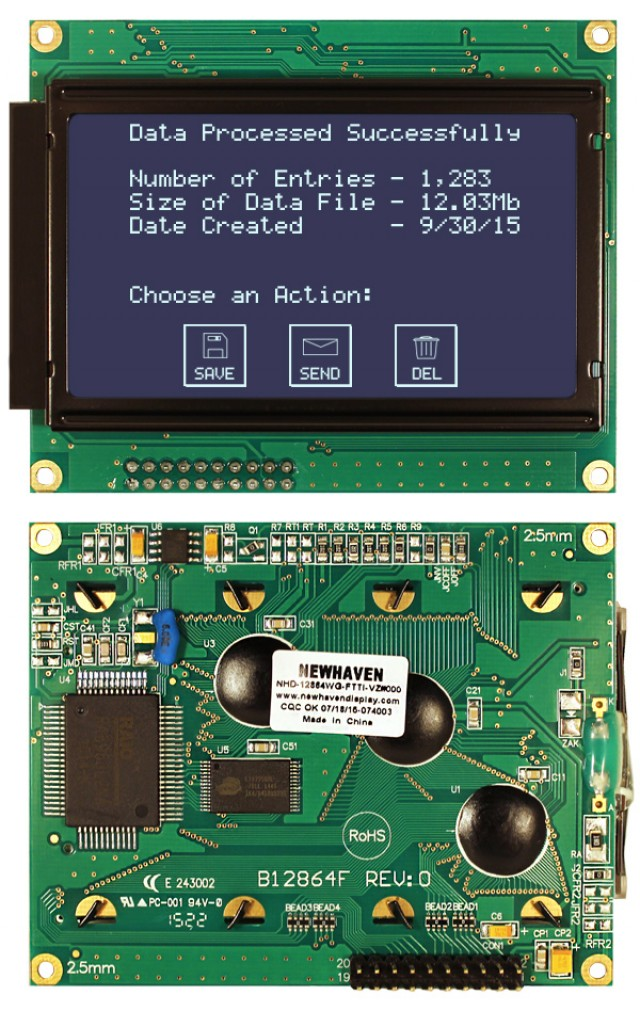 Newhaven NHD-12864WG-FTTI-VZ#000 Newhaven 128 x 64 Pixels Transmissive  LCD Graphic Display Using 8-Bit Parallel Interface and 2x10 Bottom Connector. (Product Image)