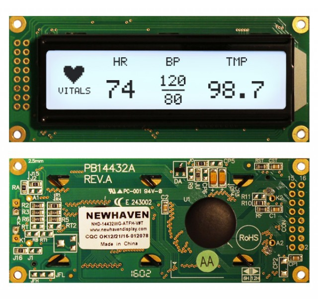 Newhaven Display NHD-14432WG-ATFH-V#T Newhaven 144 x 32 Pixels Transflective  LCD Graphic Display @ 5V and 8-Bit Parallel Interface with 2x16 Left Connector and ST7920 Controller. PN - NHD-14432WG-ATFH-V#T (Product Image)
