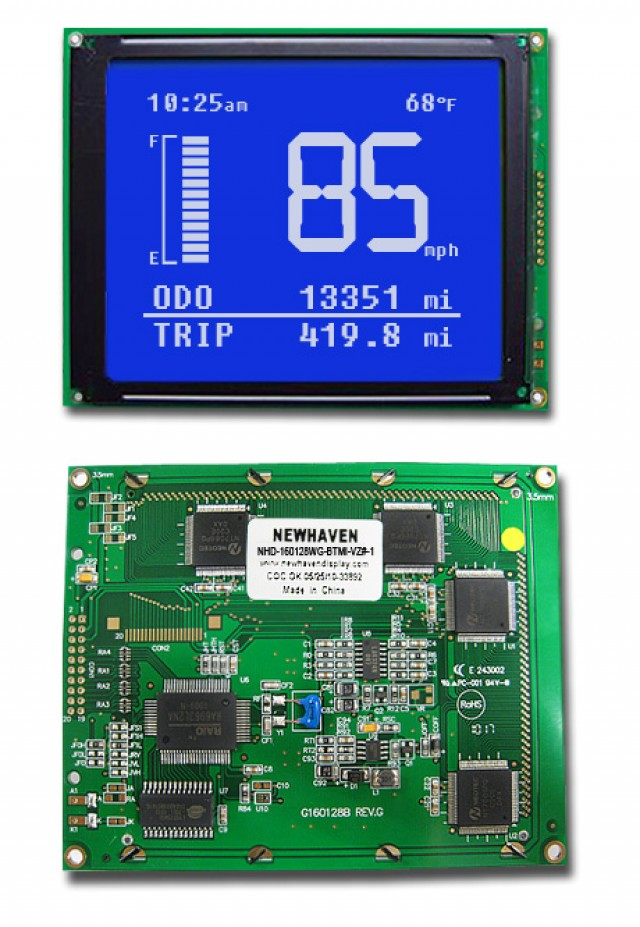 Newhaven NHD-160128WG-BTMI-VZ#-1 Newhaven 160 x 128 Pixels Transmissive  LCD Graphic Display Using 8-Bit Parallel Interface and 2x10 Right Connector. (Product Image)