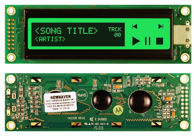 Newhaven NHD-19232WG-BGGH-V#T Newhaven 192 x 32 Pixels Transflective  LCD Graphic Display @ 5.0V and 8-Bit Parallel Interface with 2x8 Left Connector and ST7920 Controller. PN - NHD-19232WG-BGGH-V#T (Product Image)
