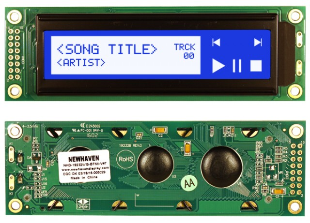 Newhaven NHD-19232WG-BTMI-V#T Newhaven 192 x 32 Pixels Transmissive  LCD Graphic Display Using 8-Bit Parallel Interface and 2x8 Left Connector. (Product Image)