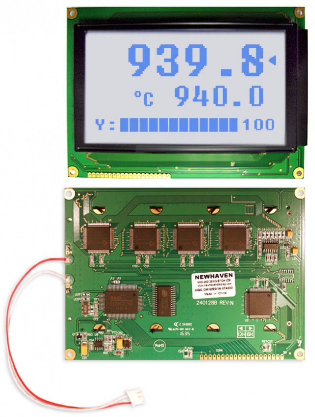 Newhaven NHD-240128WG-BTGH-VZ# Newhaven 240 x 128 Pixels Transflective  LCD Graphic Display @ 5.0V and 8-Bit Parallel Interface with 1x20 Bottom Connector and T6963C Controller. PN - NHD-240128WG-BTGH-VZ# (Product Image)