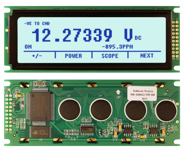 Newhaven NHD-24064CZ-FSW-GBW Newhaven 240 x 64 Pixels Transflective  LCD Graphic Display @ 5.0V and 8-Bit Parallel Interface with 2x10 Right Connector and T6963C Controller. PN - NHD-24064CZ-FSW-GBW (Product Image)