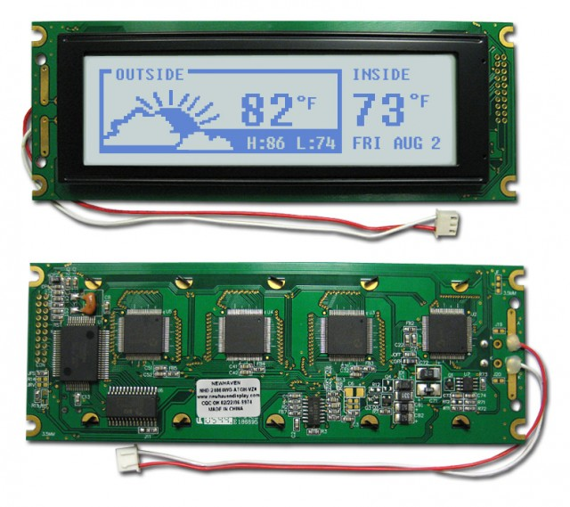Newhaven NHD-24064WG-ATGH-VZ# Newhaven 240 x 64 Pixels Transflective  LCD Graphic Display Using 8-Bit Parallel Interface and 2x10 Right Connector. (Product Image)