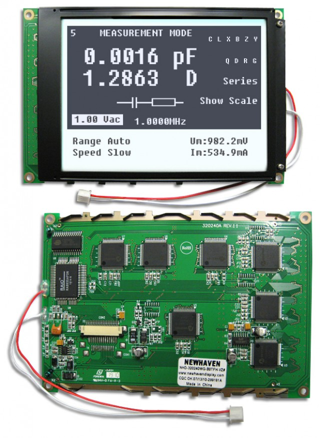 Newhaven NHD-320240WG-BoTFH-VZ# Newhaven 320 x 240 Pixels Transflective  LCD Graphic Display @ 5.0V and 8-Bit Parallel Interface with 1x20 Back Connector and RA-8835 Controller. PN - NHD-320240WG-BoTFH-VZ# (Product Image)