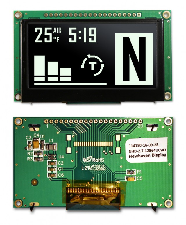 Newhaven NHD-2.7-12864UCW3 NewHaven 128 x 64 pixels Graphic OLED Display with White Display Mode and Parallel or Serial MPU Interface Interface. Uses 3V Voltage. (Product Image)