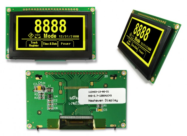 Newhaven Display NHD-2.7-12864UCY3 NewHaven 128 x 64 pixels Graphic OLED Display with Yellow Display Mode and 8-bit Parallel/SPI Interface. Uses 3V Voltage. (Product Image)