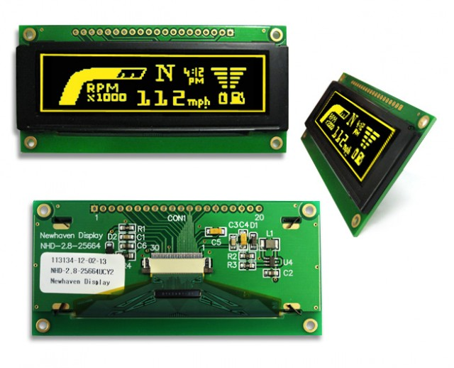 Newhaven NHD-2.8-25664UCY2 Newhaven 256 x 64 pixels Yellow  Graphic OLED @ 3V and 8-bit Parallel/3-wire SPI or 4-wire SPI Interface with 1 x 20 Top Connector and SSD1322 Controller. PN - NHD-2.8-25664UCY2 (Product Image)