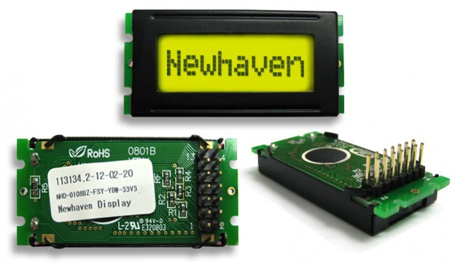 Newhaven NHD-0108BZ-FSY-YBW-33V3 Newhaven 1 x 8 Characters Transflective LCD Character Display Using 8-Bit Parallel Interface and 2x7 Back Connector. (Product Image)