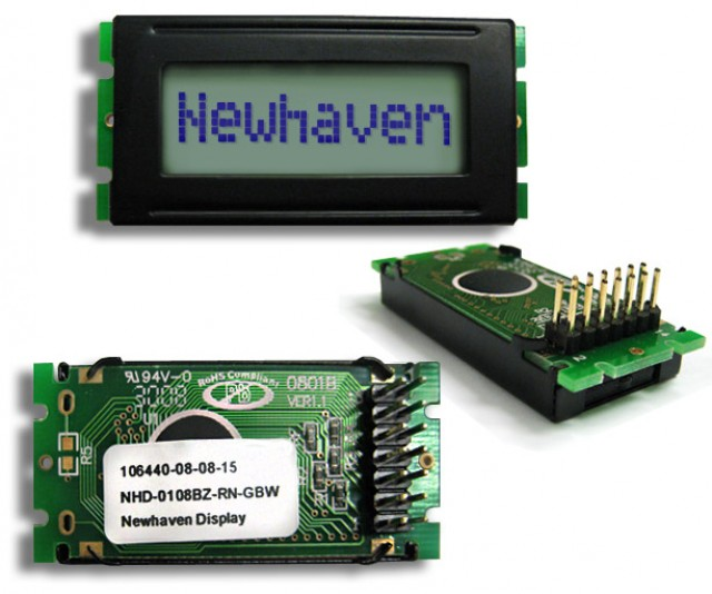 Newhaven Display NHD-0108BZ-RN-GBW Newhaven 1 x 8 Characters Reflective LCD Character Display @ 5V and 8-Bit Parallel Interface with 2x7 Back Connector and SPLC780D OR ST7066U Controller. PN - NHD-0108BZ-RN-GBW (Product Image)