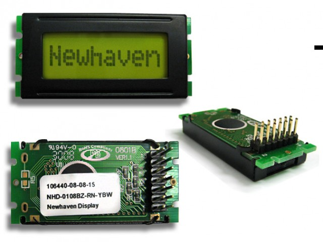 Newhaven NHD-0108BZ-RN-YBW Newhaven 1 x 8 Characters Reflective LCD Character Display @ 5V and 8-Bit Parallel Interface with 2x7 Back Connector and SPLC780D OR ST7066U Controller. PN - NHD-0108BZ-RN-YBW (Product Image)
