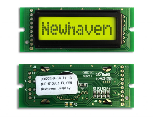 Newhaven NHD-0108CZ-FL-GBW Newhaven 1 x 8 Characters Transflective LCD Character Display @ 5V and 8-Bit Parallel Interface with 1x10 Left Connector and SPLC780D OR ST7066U Controller. PN - NHD-0108CZ-FL-GBW (Product Image)