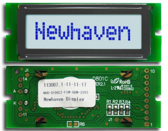 Newhaven Display NHD-0108CZ-FSW-GBW-33V3 Newhaven 1 x 8 Characters Transflective LCD Character Display @ 3.3V and 8-Bit Parallel Interface with 1x10 Left Connector and SPLC780D OR ST7066U Controller. PN - NHD-0108CZ-FSW-GBW-33V3 (Product Image)