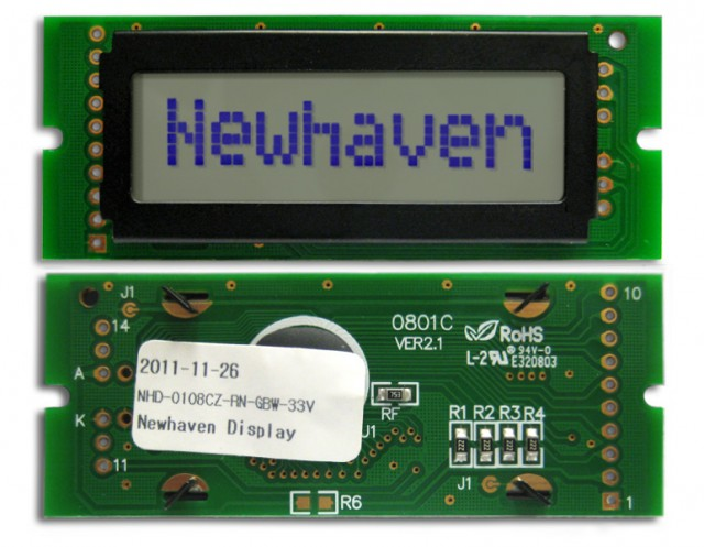 Newhaven NHD-0108CZ-RN-GBW-33V Newhaven 1 x 8 Characters Reflective LCD Character Display @ 3.3V and 8-Bit Parallel Interface with 1x10 Left Connector and SPLC780D OR ST7066U Controller. PN - NHD-0108CZ-RN-GBW-33V (Product Image)